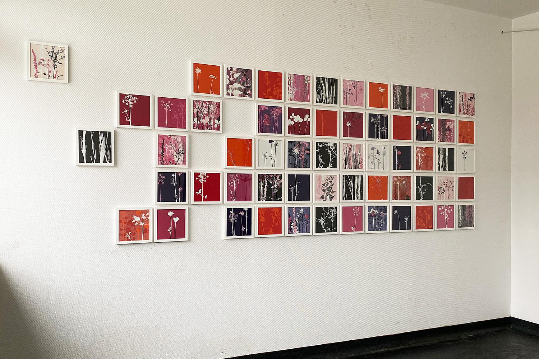 Blick in die Ausstellung   'Vielfalt am Wegesrand' [60-teiliges Werk] 2020   St. Barbara Kaserne Dülmen