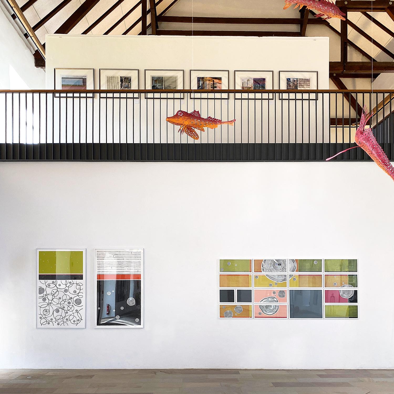 Blick in die Ausstellung mit meinen Werken: BaumGeschichten IV   BaumGeschichten V   Feld und Wald I