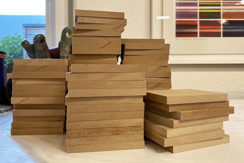 Arbeitsmaterial   MDF-Platten   zugeschnitten auf Druckplattenformat