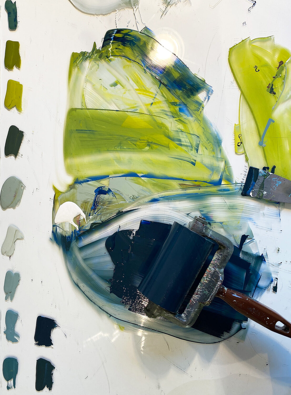 Druckvorgang   Blick auf den Farbenauswalztisch
