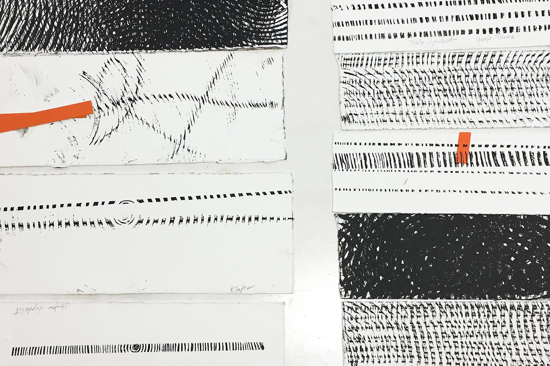 Arbeitsprozess   Testreihe   erste Probeabzüge von Baumscheiben   Muster- und Strukturensuche