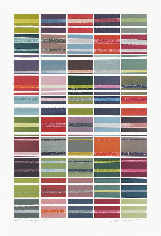 8/15 VARIATION GESTREIFT I | Monotypie / Papierschablone | 80 x 52 cm [93 x 63 cm] | 2013 / 2018