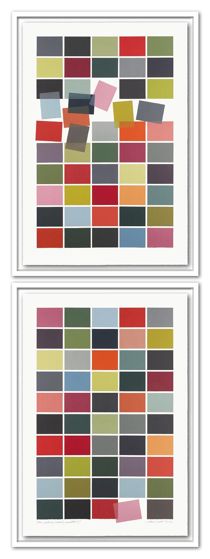 1/15 VARIATION SORTIERT / UNSORTIERT | | Auflage 15 [Variation] | 2-teilig | Monotypie | 208 x 73 cm [gerahmt] | 2013 / 2018