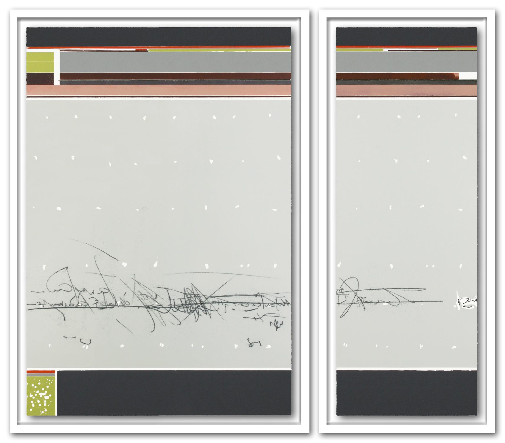OHNE TITEL | Unikat | 2-teilig | Monotypie / Farbholzschnitt | 103 x 117 cm [gerahmt] | 2018