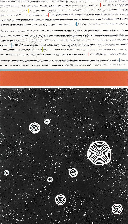 BAUM-GESCHICHTEN IV | Auflage 4 | Handabzug von Baumscheiben / Monotypie | 140 x 80 cm | 2019