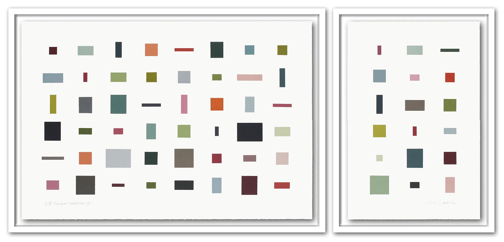2/5 VARIATION FARBFELDER || | Auflage 5 [Variation] | 2-teilig | Monotypie | 73 x 157 cm [gerahmt] | 2020