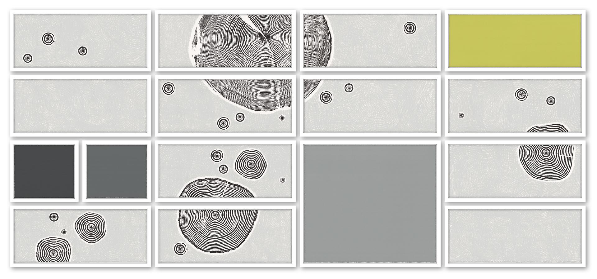 FELD UND WALD II | Unikat | 16-teilig | Handabzug von Baumscheiben / Monotypie | 114 x 254 cm [gerahmt] | 2020