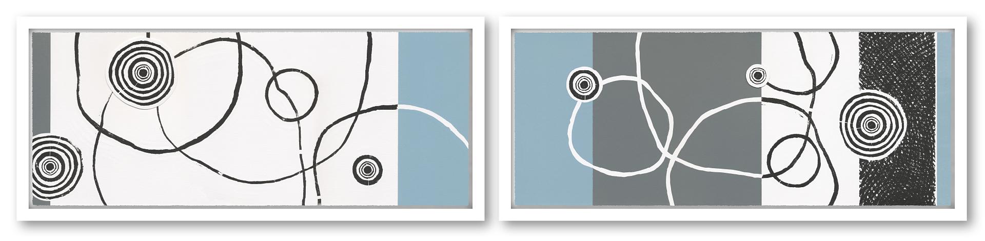 VARIATION BAUMELEMENTE I+II | Unikat | 2-teilig | Handabzug von Baumscheiben / Monotypie | 27 x 128 cm [gerahmt] | 2018