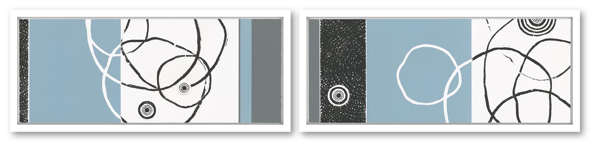 VARIATION BAUMELEMENTE III+IV I Unikat | 2-teilig | Handabzug von Baumscheiben / Monotypie | 27 x 128 cm [gerahmt] | 2018