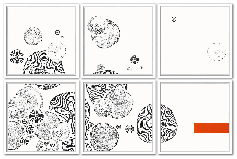 1/15 VARIATION ZEITRAFFER | Auflage 15 [Variation] | 6-teilig | Handabzug von Baumscheiben / Monotypie | 128 x 193 cm [gerahmt] | 2015 / 2017